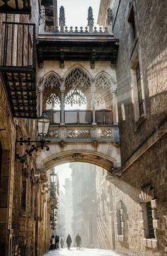 Carrer del Bisbe. Bisbe Street bridge, Gothic quarter, Barcelona, Catalunya, Spain by David J. Lew. (586×900)