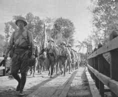 Japanese officer of the 5th infantry division sergeant saito leading his man (singapore, 1942)