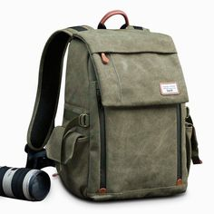 Camera Backpack Zecti Waterproof Canvas Professional Camera Bag for Laptop  and Other Digital Camera Accessories with Rain Cover-Green eaf3258379127