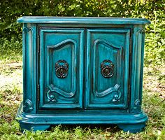 Modernly Shabby Chic Furniture: Venitian Aqua Side Table