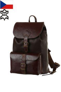 Klasický batoh z pravé kůže - vyrobeno v ČR Vintage Handbags, Leather Backpack, Fashion Backpack, Backpacks, Unisex, Wallet, Retro, Satchels, Vintage Purses