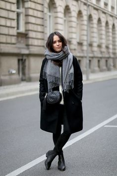 winter coat and scarf