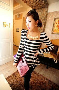 Stripes Peplum Long-Sleeve Shirt Black - BuyTrends.com