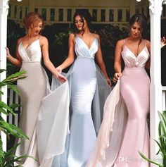 Sexy V Neck Sleeveless Maid of Honor Dresses Backless Plus Size Long Beach Bridesmaid Bridal Party Evening Gowns 2016 Custom Cheap Online with $69.15/Piece on Olesa's Store | DHgate.com