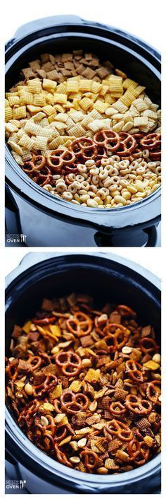 Slow Cooker Chex Mix -- the classic mix you love, made in your crock pot! Always loved home made Chex mix warm from the oven.now the crock pot! Crock Pot Slow Cooker, Crock Pot Cooking, Cooking Recipes, Crock Pots, Crockpot Meals, Crock Pot Chex Mix, Chex Mix In Crockpot, Crock Pot Candy, Cooking Time