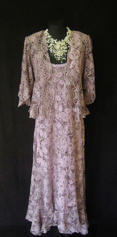 ANN BALON (Italian Inspired Designer) Lilacy Pink, Lace Dress & Jacket, size Large UK14/16