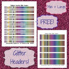 Multicolor Glitter Headers! | Free Printable Planner Stickers from PlannerProblem.wordpress.com. Sized for the #erincondrenvertical and #happyplanner but works in the #erincondrenhorizontal as well. Available with a color and text customization option! Download for free at https://plannerproblem.wordpress.com/2016/07/14/multicolor-glitter-headers-free-printable-planner-stickers/