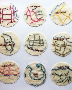 I think this is a good mix of textiles and cartography, and makes a really… Embroidery Map, Machine Embroidery, Map Quilt, Quilts, A Level Textiles, A Level Art, Gcse Art, Fabric Art, Fiber Art