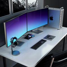 Home Studio Setup, Home Office Setup, Office Desk, Computer Desk Setup, Gaming Room Setup, Desk Inspiration, Desk Inspo, Mac Vs Pc, Minimalist Desktop Wallpaper