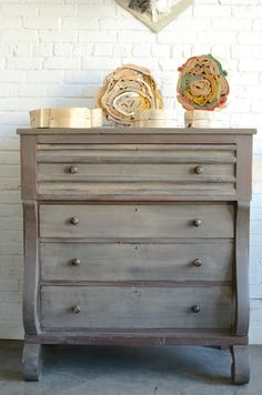Gonna refinish a piece that I have to look just like this. Gorgeous painted chest of drawers & book sculptures by Peterson Blair of Knack Studios. Chalk Paint Furniture, Hand Painted Furniture, Distressed Furniture, Shabby Chic Furniture, Furniture Projects, Furniture Makeover, Wood Furniture, Dresser Makeovers, Dresser Ideas