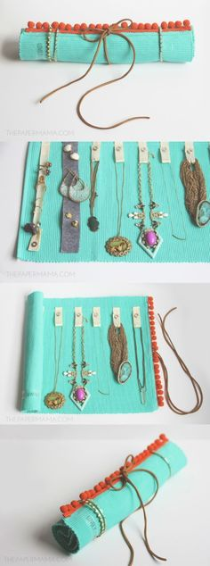How to make a DIY jewelry roll out of an inexpensive placemat!