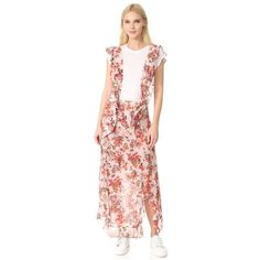 IRO Anoucka Apron Skirt ($460) ❤ liked on Polyvore featuring skirts, natural, floral tiered skirt, ruffled skirts, floral print skirt, flounce skirt and flouncy skirt