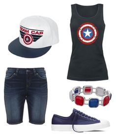 """#TeamCap"" by liniki on Polyvore featuring Silver Jeans Co. and Converse"