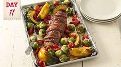 Bacon-Wrapped Pork Tenderloin with Harvest Vegetables