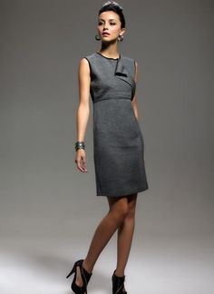 Gray Day Dress - Sleeveless Lace Back Slanting Zip | UsTrendy