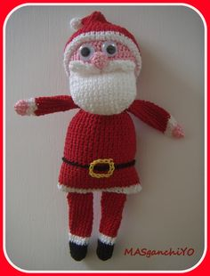 Adorno navideño: Papá Noel de ganchillo.