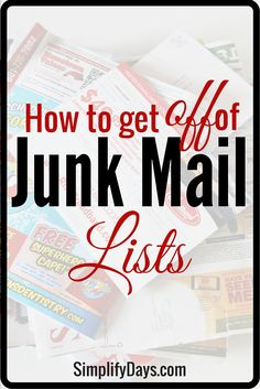 Did you know you can permanently get off of junk mail lists? This post will give you the resources to get of off credit card & insurance offer lists, and off of direct mail marketing lists. It will also teach you how to stop receiving catalogs and other m Getting Rid Of Clutter, Getting Organized, Things To Know, Did You Know, Mail Marketing, Marketing Ideas, Insurance Marketing, Junk Mail, Life Organization