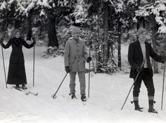 Skiing in Storvik in Gästrikland about 1905.