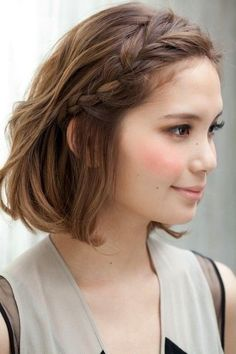 Coiffure : 10 Braided Hairstyles for Short Hair – PoPular Haircuts Cool Hairstyles For Girls, Pretty Hairstyles, Girl Hairstyles, Hairstyle Ideas, Easy Hairstyles, Wedding Hairstyles, French Hairstyles, Curly Haircuts, Hairstyles 2016