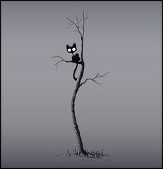 The cat in the tree by Stuffed Kitty on deviantart. Art of the cat illustration.