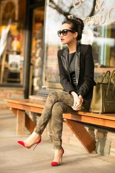 camo pants, black blazer and red heels