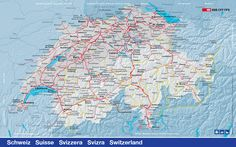 Switzerland SBB train network map