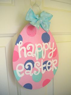 Happy Easter Egg Polka Dot Holiday sign by yourethatgirldesigns, $16.00