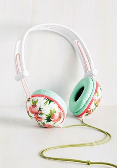 Swoons and Tunes Headphones in Pink Roses, @ModCloth