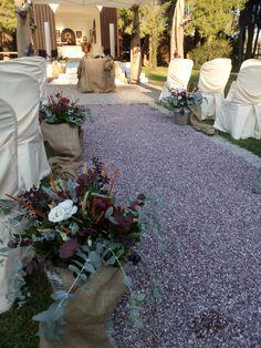Rustic wedding aisle. Rustic Weddings, Wedding Decorations, Sidewalk, Bouquet, Plants, Pictures, Design, Photos, Bunch Of Flowers