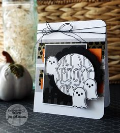 Card by Jen del Muro. Reverse Confetti stamp sets: Spookt Cuties and Spooky Sentiments. Confetti Cuts: Circles 'n Scallops. Halloween card.