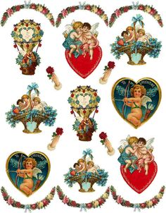 cupids hearts romance basket blue red valentines