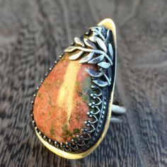 Leaf Ring Sterling Silver & Pink Green Unakite by BearSongJewelry