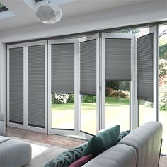 Gentle light filtering gentle colour gentle look. This ClickFIT DuoLuxe Soft White for BiFold doors . Blinds For Bifold Doors, White Bifold Doors, Blinds For French Doors, Blinds For Windows, Windows And Doors, Shutter Blinds, Sash Windows, House Windows, Fitted Blinds