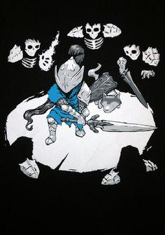 Black Dark Souls Multicoloured Silkscreened T-Shirt Artorias & Sif fighting Darkwraiths
