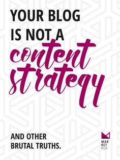 Your Blog is NOT a Content Strategy | Everything you need to know about the content marketing strategy and why your blog is only one piece of the puzzle! @marketmox
