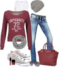 Maroon Shirt + Jeans + Grey Sneakers + Grey Beanie Hat + Black Or Grey Or Maroon Bag (Comfy Outfit)