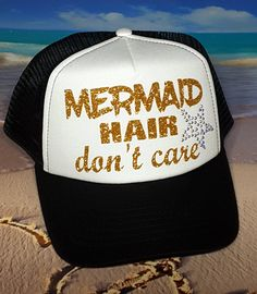 Mermaid Hair Dont Care Hat Mermaid Youth Hat Youth trucker hat little girls hat custom made hat little girls mermaid hat mermaid hat Girl With Hat, My Girl, Custom Made Hats, Mermaid Hat, Birthday Party Hats, Hot Beach, Punk Goth, Summer Hats, The Little Mermaid