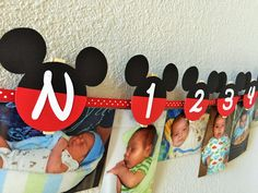 Mickey Mouse Birthday Party - First Year Photo Clothespin Banner by sweetheartpartyshop on Etsy https://www.etsy.com/listing/241988966/mickey-mouse-birthday-party-first-year