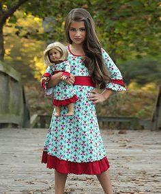 Loving this Blue & Red Love Ruffle Dress & Doll Dress - Girls on #zulily! #zulilyfinds