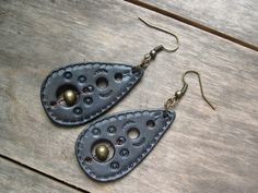 432 LEATHER earrings, teardrop, stamped, Blue Gray, lightweight, brass beads, jewelry. by LoveItLeather on Etsy