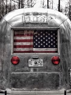 American Flag Window Curtain On 1964 Airstream Overlander
