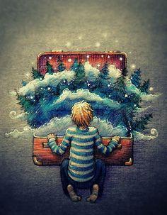 мальчик, чемодан, лес, сосны, звезды, туман