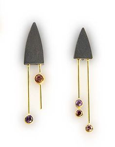 "Janis Kerman: , Post earrings in oxidized sterling silver, 18k yellow gold, and tourmaline. Earrings are approx 1 7/8"" and 2"" long."