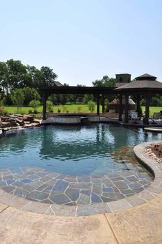 View Custom Outdoor Trends Pools and Spas photo gallery, showcasing our Rockwall & Dallas pool design, water features outdoor living spaces Swiming Pool, Swimming Pools Backyard, Swimming Pool Designs, Pool Landscaping, Beach Entry Pool, Backyard Pool Designs, Backyard Ideas, Beautiful Pools, Dream Pools