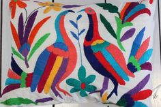 Hand Embroidered OTOMI CUSHION COVER, Multi Coloured Bird Design