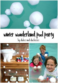 winter wonderland pool party with a snowball fight and snow cones {ad} Birthday Gift For Him, Boy Birthday Parties, Girl Birthday, Kids Party Games, Party Activities, Snow In Summer, Summer Pool, Pool Party Decorations, Winter Wonderland Party