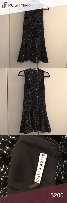 """Alice and Olivia black and white dress Soft fit and flare dress, fully lined, very comfortable, like new condition, great for all seasons! I am 5'8"""" for reference in the picture. Alice + Olivia Dresses Mini"""