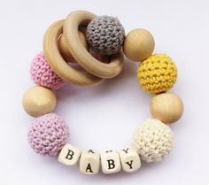 WORLDWIDE FREE SHIPPING Crochet wooden teething