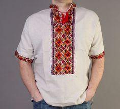 4th of JULY SALE VYSHYVANKA mens Gray Embroidery Linen SHIRT Short sleeve S-4XL #wooyko #Folk
