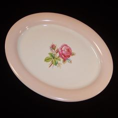 Homer Laughlin Swing Moss Rose Oval Serving Platter from ruthsredemptions on Ruby Lane